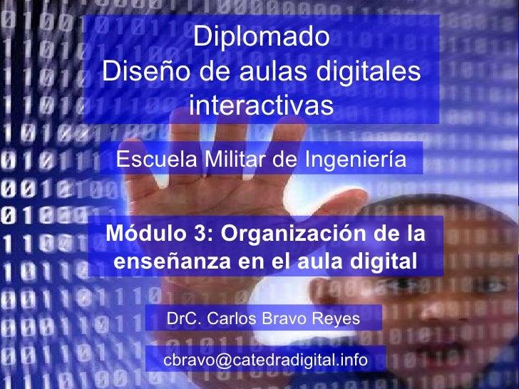 Diplomado Diseño de aulas digitales interactivas Escuela Militar de Ingeniería DrC. Carlos Bravo Reyes [email_address] Mód...