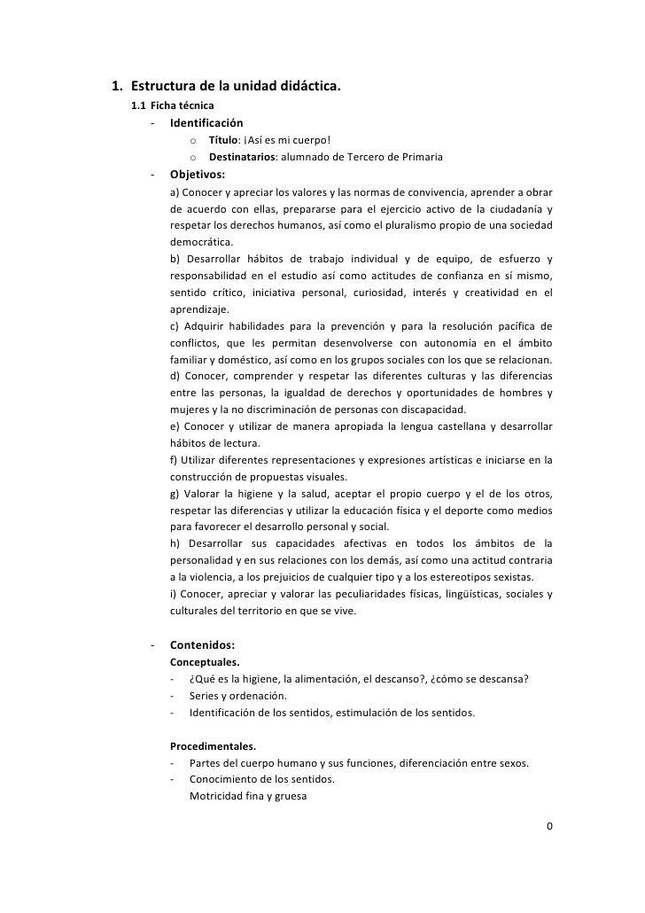 1. Estructura de la unidad didáctica.   1.1 Ficha técnica      -   Identificación              o   Título: ¡Así es mi cuer...