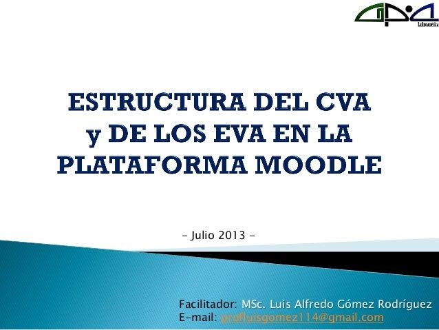 Facilitador: MSc. Luis Alfredo Gómez Rodríguez E-mail: profluisgomez114@gmail.com - Julio 2013 -