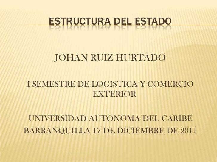 ESTRUCTURA DEL ESTADO      JOHAN RUIZ HURTADOI SEMESTRE DE LOGISTICA Y COMERCIO              EXTERIOR UNIVERSIDAD AUTONOMA...