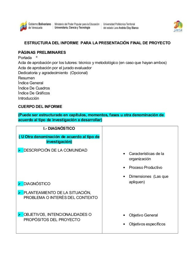 Estructura del informe final del proyecto pnfcp for Caracteristicas de la oficina wikipedia