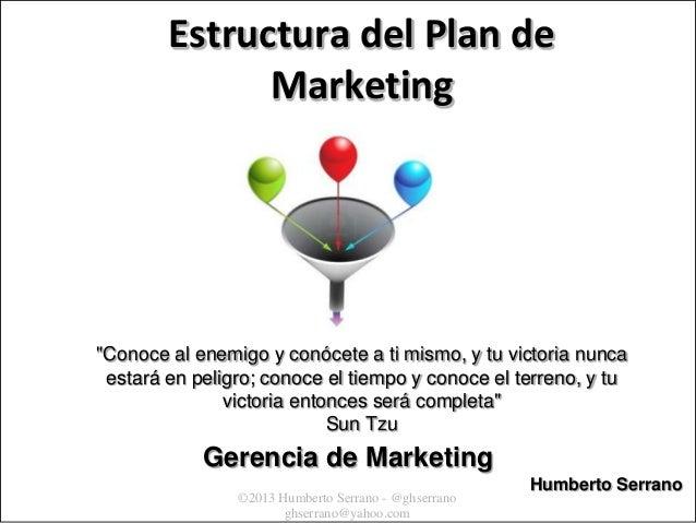 """Estructura del Plan de Marketing                  """"Conoce al enemigo y conócete a ti mismo, y tu victoria nunca           ..."""