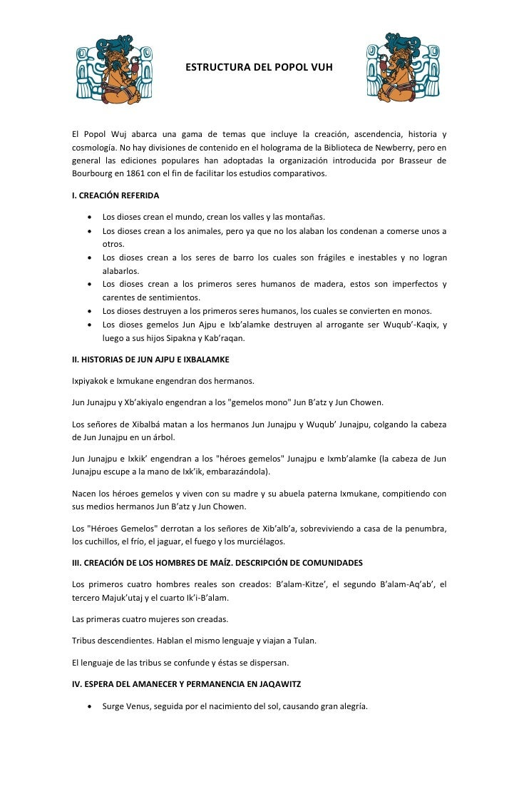 Estructura Del Popol Vuh