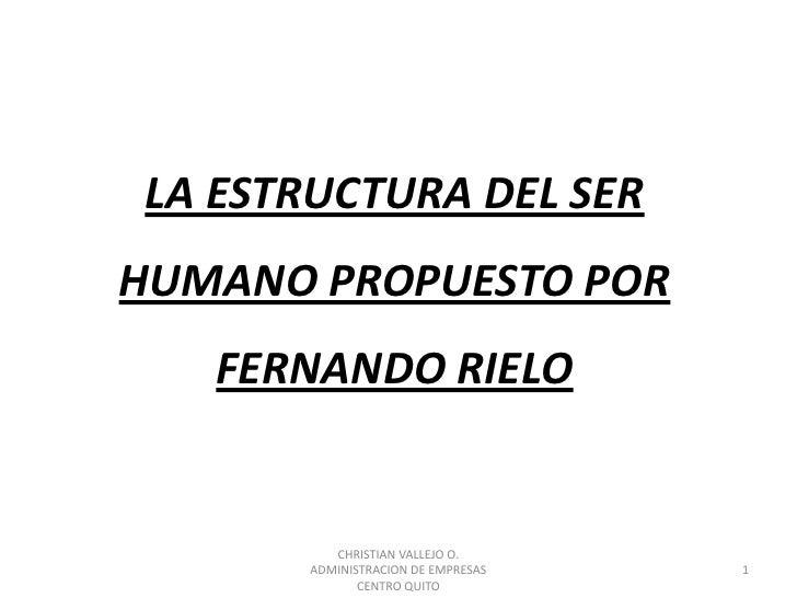 LA ESTRUCTURA DEL SER HUMANO PROPUESTO POR FERNANDO RIELO<br />1<br />CHRISTIAN VALLEJO O.                                ...