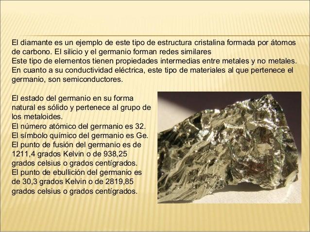 El diamante es un ejemplo de este tipo de estructura cristalina formada por átomosde carbono. El silicio y el germanio for...