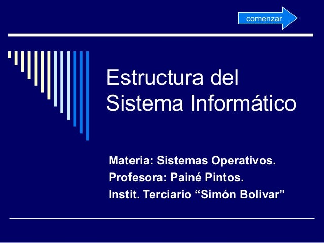 "Estructura del Sistema Informático Materia: Sistemas Operativos. Profesora: Painé Pintos. Instit. Terciario ""Simón Bolivar..."