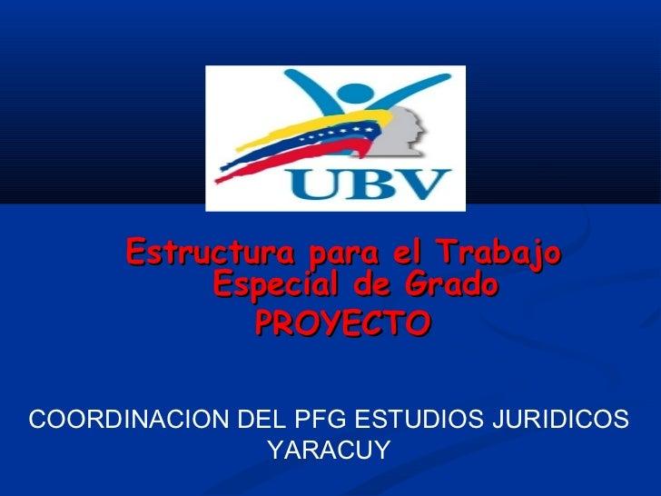 Estructura para el Trabajo           Especial de Grado              PROYECTOCOORDINACION DEL PFG ESTUDIOS JURIDICOS       ...