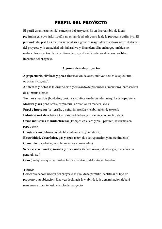 Estructura de perfil del proyecto