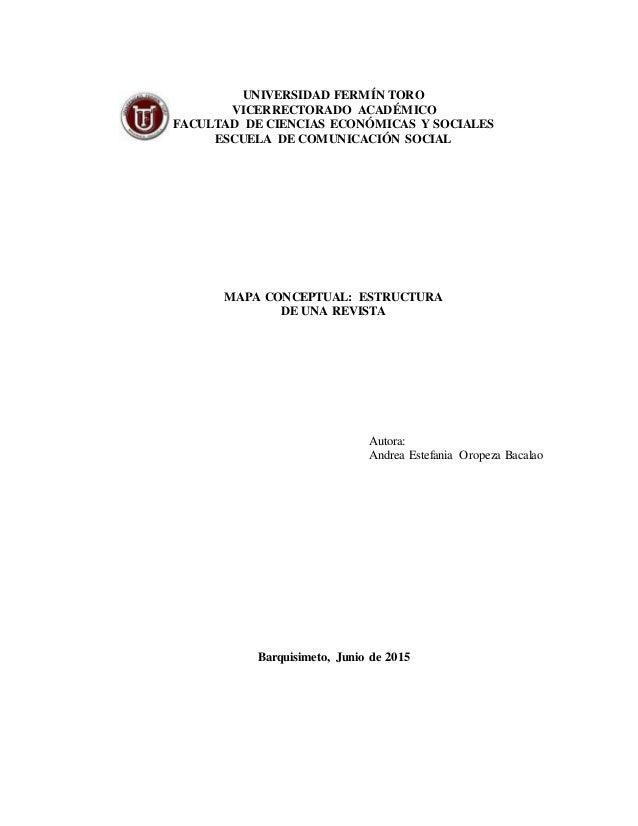 UNIVERSIDAD FERMÍN TORO VICERRECTORADO ACADÉMICO FACULTAD DE CIENCIAS ECONÓMICAS Y SOCIALES ESCUELA DE COMUNICACIÓN SOCIAL...