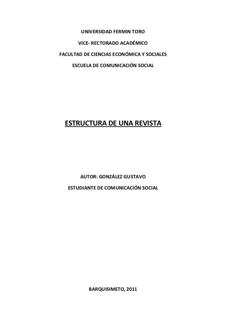 UNIVERSIDAD FERMIN TORO       VICE- RECTORADO ACADÉMICOFACULTAD DE CIENCIAS ECONÓMICA Y SOCIALES    ESCUELA DE COMUNICACIÓ...