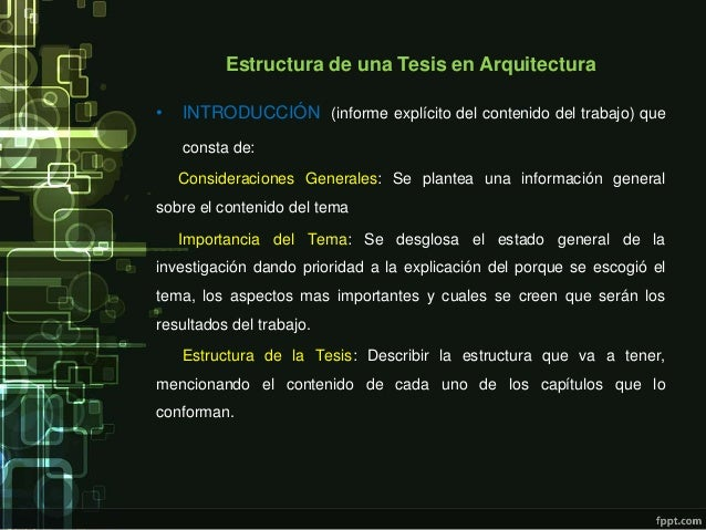 Estructura de una tesis en arquitectura for Tesis de arquitectura ejemplos