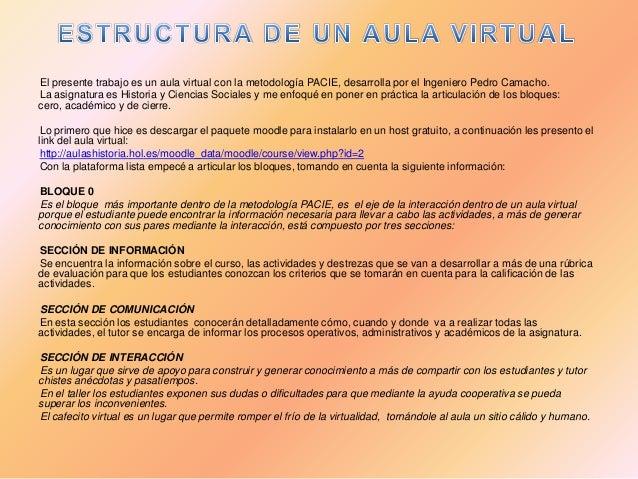 El presente trabajo es un aula virtual con la metodología PACIE, desarrolla por el Ingeniero Pedro Camacho. La asignatura ...