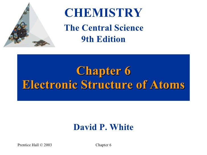 Chapter 6 Electronic Structure of Atoms Prentice Hall  ©  2003 Chapter 6 CHEMISTRY   The Central Science  9th Edition Davi...