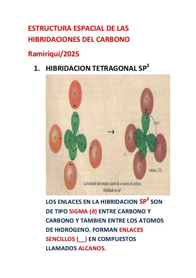 Estructura Espacial De Las Hibridaciones Del Carbono
