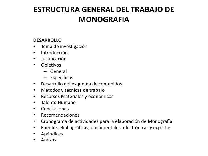 Estructura General Del Trabajo De Monografia