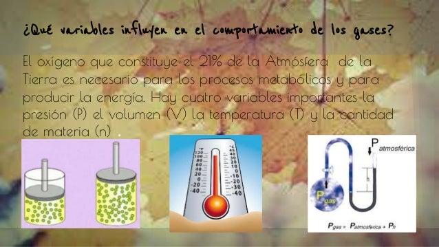 ¿Qué variables influyen en el comportamiento de los gases? El oxígeno que constituye el 21% de la Atmósfera de la Tierra e...