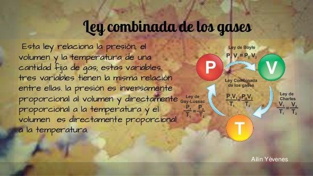 Ley combinada de los gases Esta ley relaciona la presión, el volumen y la temperatura de una cantidad fija de gas; estas v...