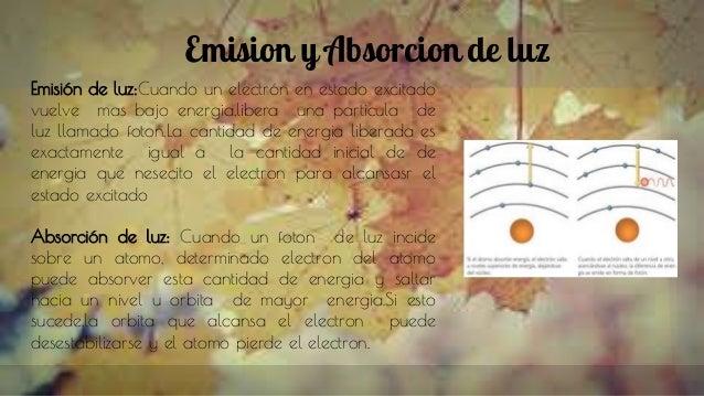 Emision y Absorcion de luz Emisión de luz:Cuando un electrón en estado excitado vuelve mas bajo energia,libera una particu...