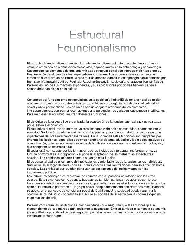 Estructural Funcionalismo Enfoque