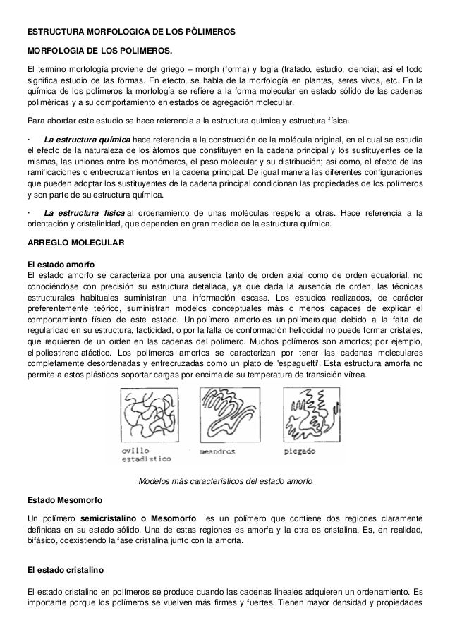 Estructura Morfologica De Los Pòlimeros