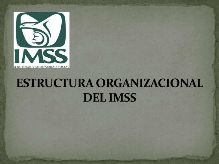 ESTRUCTURA ORGANIZACIONAL DEL IMSS<br />