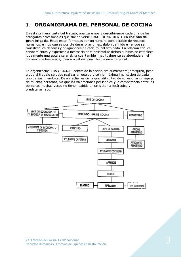Estructura organizativa de los rr hh en empresas de - Grado superior cocina ...