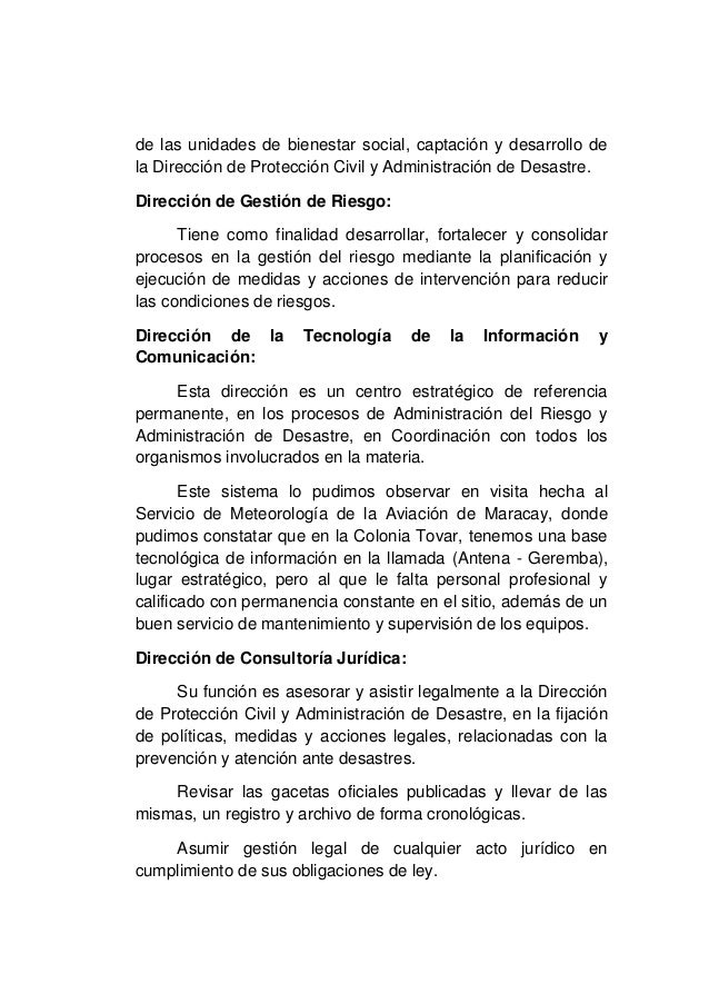 Estructura Organizativa De Protección Civil Y Administración
