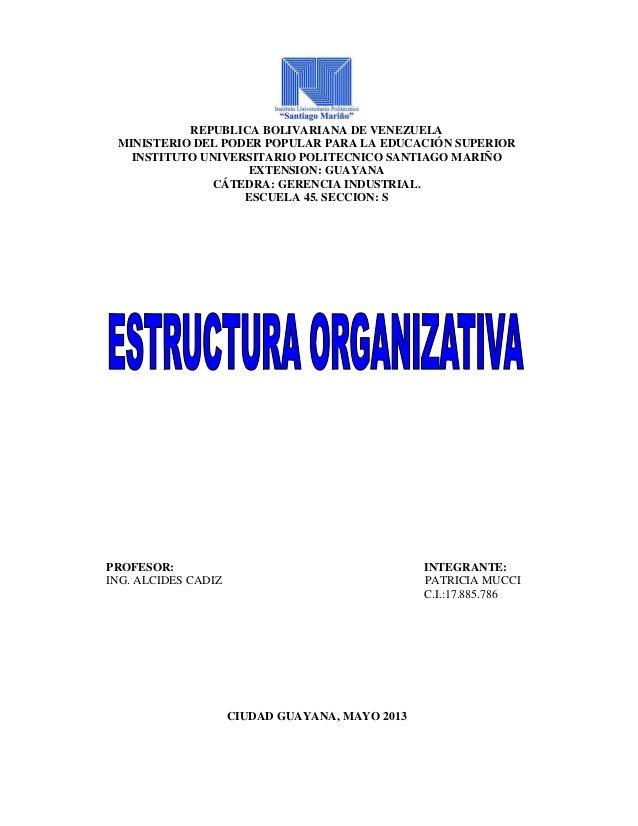 REPUBLICA BOLIVARIANA DE VENEZUELAMINISTERIO DEL PODER POPULAR PARA LA EDUCACIÓN SUPERIORINSTITUTO UNIVERSITARIO POLITECNI...
