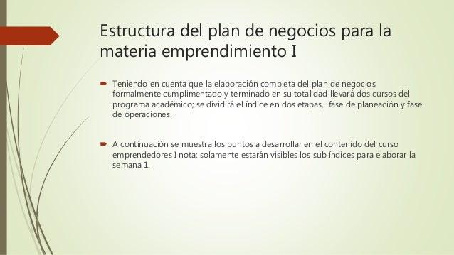 Estructura Plan De Negocios Emprendimiento I