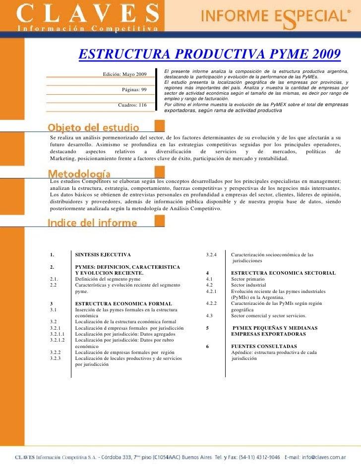 ESTRUCTURA PRODUCTIVA PYME 2009                                                    El presente informe analiza la composic...