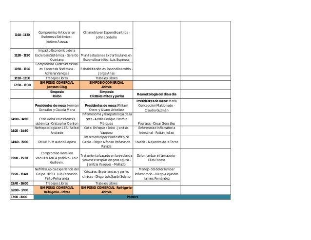 Programa XIV Congreso Colombiana de Reumatología Slide 2