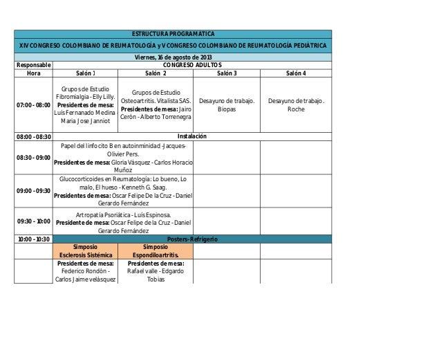 ESTRUCTURA PROGRAMÁTICA XIV CONGRESO COLOMBIANO DE REUMATOLOGÍA y V CONGRESO COLOMBIANO DE REUMATOLOGÍA PEDIÁTRICA        ...