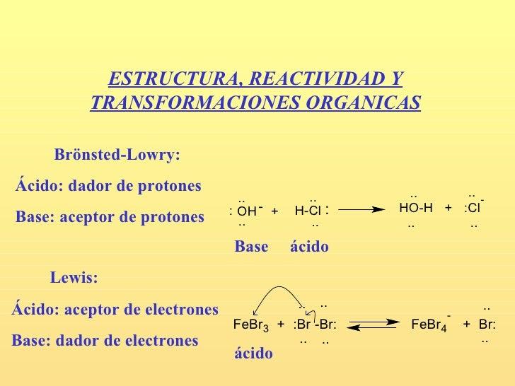 ESTRUCTURA, REACTIVIDAD Y          TRANSFORMACIONES ORGANICAS     Brönsted-Lowry:Ácido: dador de protones                 ...