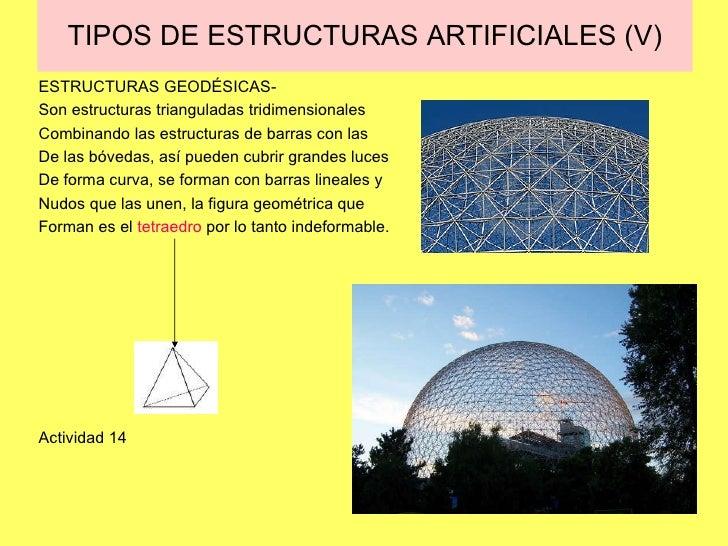 TIPOS DE ESTRUCTURAS ARTIFICIALES (V) ESTRUCTURAS GEODÉSICAS- Son estructuras trianguladas tridimensionales Combinando las...