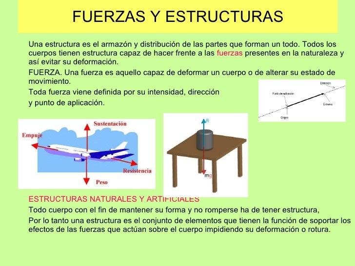 FUERZAS Y ESTRUCTURAS Una estructura es el armazón y distribución de las partes que forman un todo. Todos los cuerpos tien...