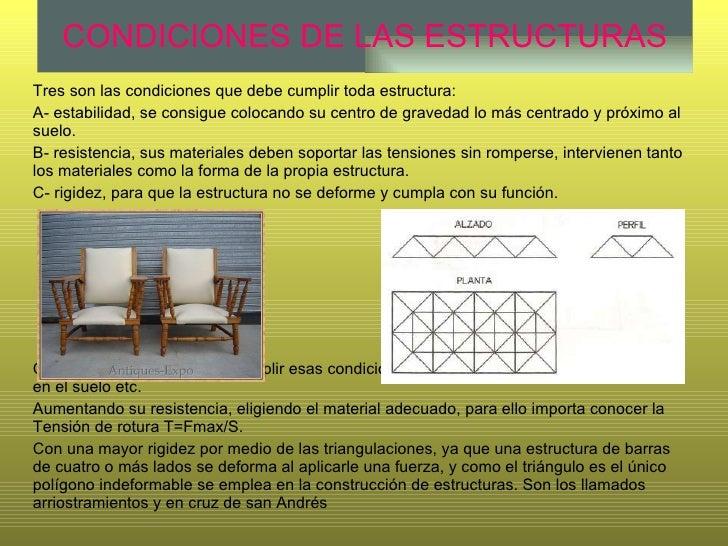 CONDICIONES DE LAS ESTRUCTURAS Tres son las condiciones que debe cumplir toda estructura: A- estabilidad, se consigue colo...