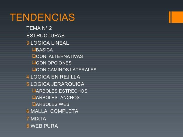 TENDENCIAS  TEMA N° 2  ESTRUCTURAS  3.LOGICA LINEAL   BASICA   CON ALTERNATIVAS   CON OPCIONES   CON CAMINOS LATERALES...