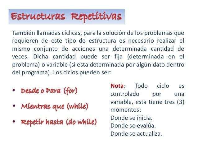 También llamadas cíclicas, para la solución de los problemas que requieren de este tipo de estructura es necesario realiza...
