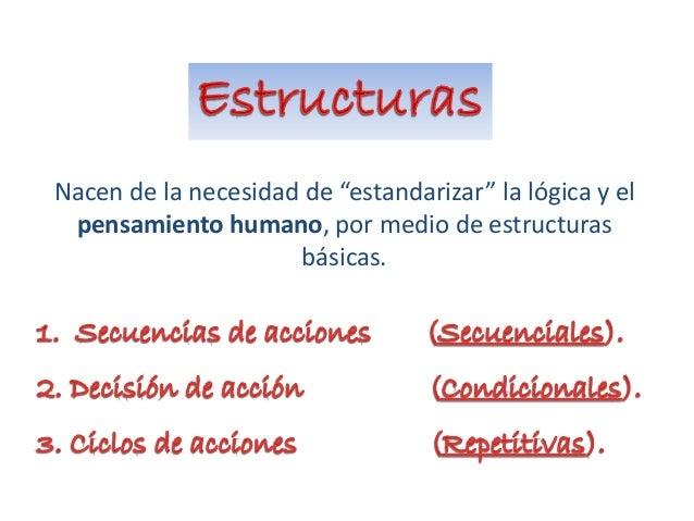 """Nacen de la necesidad de """"estandarizar"""" la lógica y el pensamiento humano, por medio de estructuras básicas."""