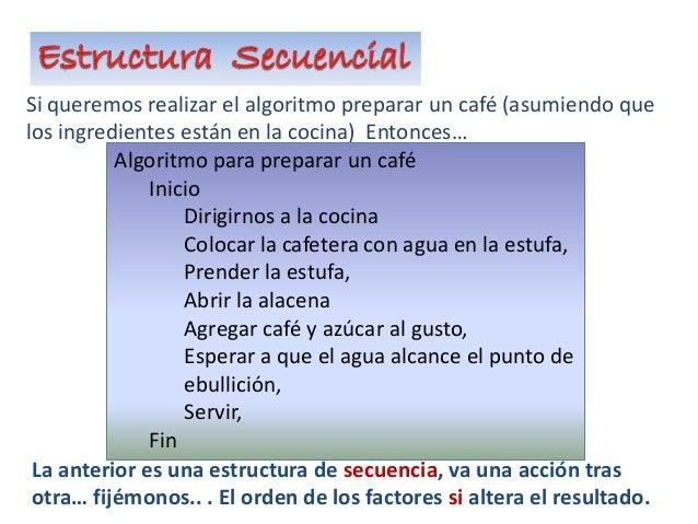 Si queremos realizar el algoritmo preparar un café (asumiendo que los ingredientes están en la cocina) Entonces… Algoritmo...
