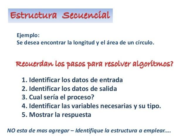 Ejemplo: Se desea encontrar la longitud y el área de un círculo. 1. Identificar los datos de entrada 2. Identificar los da...