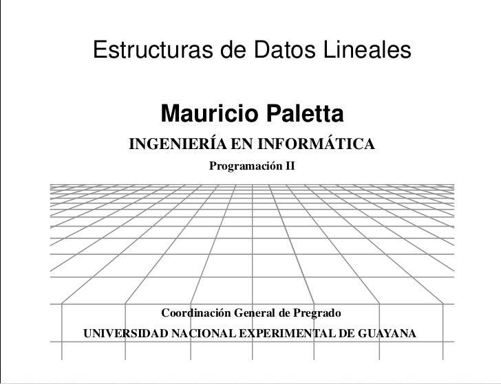Presentación Estructuras de Datos Lineales          Mauricio Paletta     INGENIERÍA EN INFORMÁTICA                  Progra...