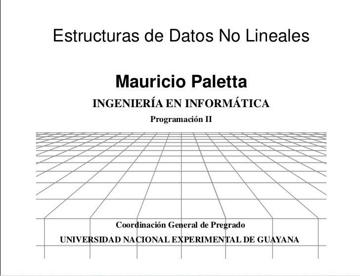 PresentaciónEstructuras de Datos No Lineales          Mauricio Paletta     INGENIERÍA EN INFORMÁTICA                  Prog...