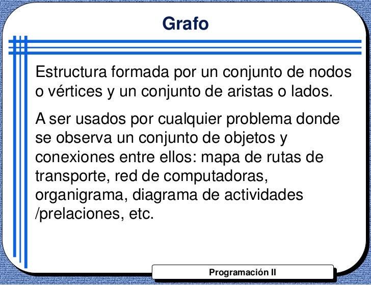 GrafoEstructura formada por un conjunto de nodoso vértices y un conjunto de aristas o lados.A ser usados por cualquier pro...