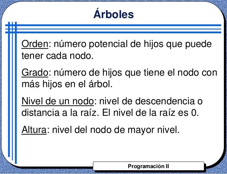 ÁrbolesOrden: número potencial de hijos que puedetener cada nodo.Grado: número de hijos que tiene el nodo conmás hijos en ...