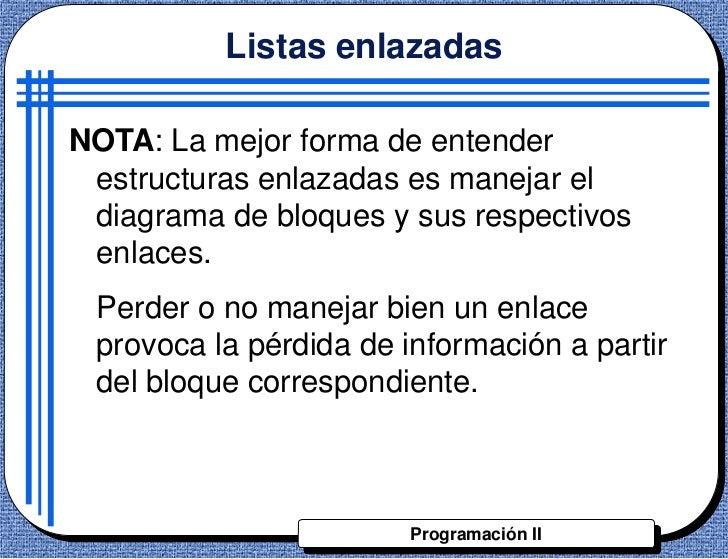 Listas enlazadasNOTA: La mejor forma de entender estructuras enlazadas es manejar el diagrama de bloques y sus respectivos...