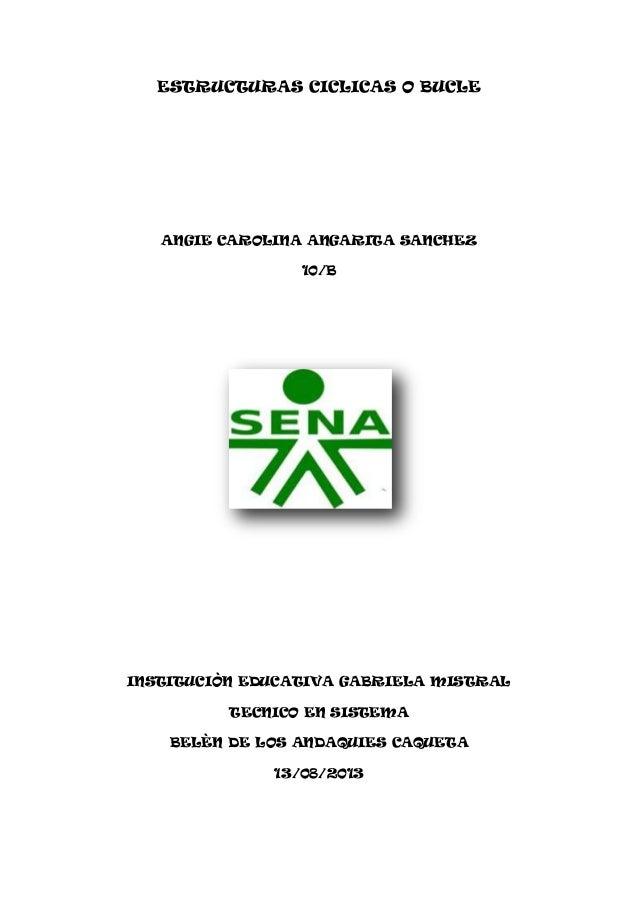 ESTRUCTURAS CICLICAS O BUCLE ANGIE CAROLINA ANGARITA SANCHEZ 10/B INSTITUCIÒN EDUCATIVA GABRIELA MISTRAL TECNICO EN SISTEM...