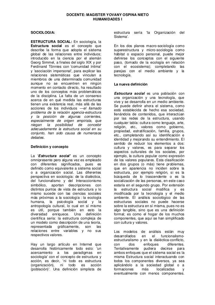 DOCENTE: MAGISTER YOVANY OSPINA NIETO                                  HUMANIDADES I   SOCIOLOGIA:                        ...