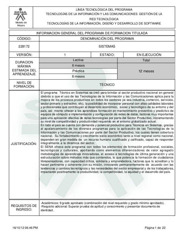 Modelo de Mejora LÍNEA TECNOLÓGICA DEL PROGRAMA TECNOLOGÍAS DE LA INFORMACIÓN Y LAS COMUNICACIONES GESTIÓN DE LA RED TECNO...