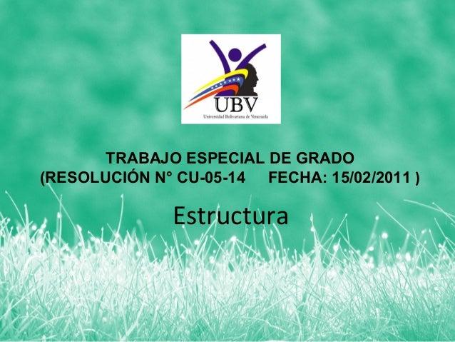 TRABAJO ESPECIAL DE GRADO(RESOLUCIÓN N° CU-05-14 FECHA: 15/02/2011 )              Estructura